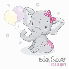 Illustration of baby shower girl. Cute elephant with balloons. Baby Elephant Drawing, Baby Girl Elephant, Cartoon Elephant, Elephant Theme, Elephant Baby Showers, Cute Elephant, Quilt Baby, Shower Bebe, Baby Boy Shower