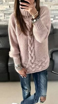 44 Knitted Women Sweaters Trending Now sweaters for women knitwear 44 Knitted Women Sweaters Trending Now - Fashion New Trends Trending Now Fashion, Handgestrickte Pullover, Knit Fashion, Pulls, Knitting Patterns, Crochet Patterns, Knit Crochet, Sweaters For Women, Style