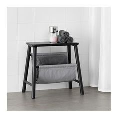 IKEA - VILTO, Storage stool, black, Two functions in one - storage and stool. Easy to keep clean as the fabric can be removed and washed. Perfect in a small bathroom. At Home Furniture Store, Modern Home Furniture, Ikea Furniture, Living Room Furniture, Ikea Bench, Ikea Stool, Chair Leg Floor Protectors, Wayfair Living Room Chairs, Storage Stool