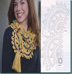 cuello bufanda de crochet flor