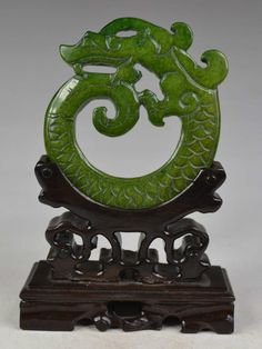 Antique Jade Dragon Medallian Carving with Rosewood stand