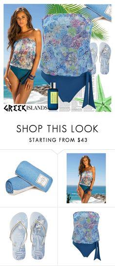 """Bloemfontein Swimsuit"" by ani-ani-beachwear ❤ liked on Polyvore featuring Havaianas, Atelier Cologne, swimwear, beachwear, resortwear, luxury and aniani"