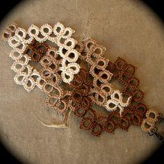 Tatted Lace Cuff Bracelet - Interwoven - Sepia Tones $30