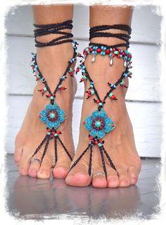 Negro Turquesa DANZA DE VIENTRE sandalias descalzas de la Joyería del pastel de Apoyos de la Fotografía Hippie bohemio desnuda sandalias empanadas Fest ...