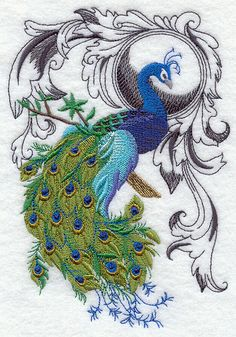 Peacock Flourish Beautiful long tail Embroidered by VelvetHearts, $26.00