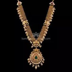 Buy Necklaces Online   Kanti Carved With CZ Pachi Pendant from Kameswari Jewellers Gold Jewelry Simple, Gold Jewellery, Bridal Jewelry, Pearl Necklace Designs, Antique Necklace, Gold Pendant, Pendant Jewelry, Gold Necklaces, Necklace Online