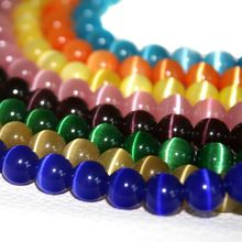 Hot selling een grade 2 strengen 6mm multi colours ronde cat eye glazen losse spacer kralen voor sieraden maken cn-bbb002(China (Mainland))