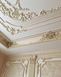Gypsum Ceiling Design, Ceiling Design Living Room, Home Room Design, Ceiling Decor, Home Interior Design, House Gate Design, Wall Design, Cornice Design, Classic House Exterior
