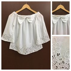 Last few pieces remaining: Bow - Bell Sleeve..., visit http://ftfy.bargains/products/bow-bell-sleeved-on-off-shoulder-white-top-flowers-cut-work?utm_campaign=social_autopilot&utm_source=pin&utm_medium=pin  #amazing #affordable #fashion #stylish
