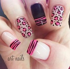Animal designs for decorated animal print nails Leopard Nails, Pink Nails, Fabulous Nails, Perfect Nails, French Nails, Love Nails, Pretty Nails, Nagel Hacks, Animal Nail Art