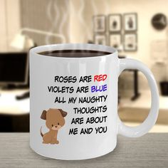 Your place to buy and sell all things handmade Naughty Valentines, Valentines Day For Him, Valentines Mugs, Roses Are Red Funny, Hypoallergenic Cats, Sexy Gifts, Great Gifts For Men, Funny Mugs, Red Roses