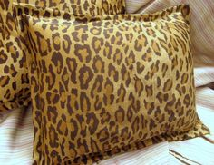 "RALPH LAUREN fabric Custom /2 Boudoir Pillow Shams 12""x16"" VENETIAN COURT LEOPAR #HandMade #tosspillowsham"