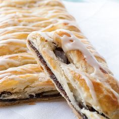 Fig Newton Danish Braid Recipe Desserts with frozen pastry puff sheets, eggs, water, dried fig, brown sugar, water, honey, vanilla extract, cinnamon, nutmeg, salt, powdered sugar, water, vanilla extract, almond extract
