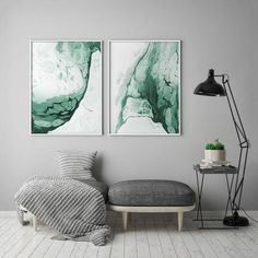 Do you have bright walls painted in startling shades of green and white? If so, you might consider this abstract forest green fluid painting as a focal decoration for your room!Its watery forms might make such a room continuously refreshing and stimulatin Green Wall Art, Green Art, Blue Art, Wall Art Decor, Wall Art Prints, Green Paintings, Abstract Paintings, Abstract Art, Bright Walls