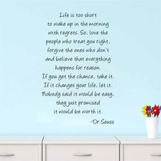 Dr .Seuss painting quote Life Love Forgive home decal wall sticker for kids room living room decorative wallposter 57*88cm