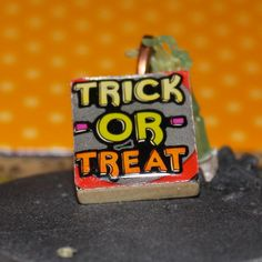 Trick or treat and Super Dog Scrabble Tile Pendants 2 by GreyGyrl, $8.00