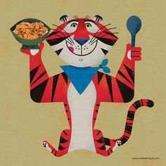 "Steve Mack on Instagram: ""Really enjoying @bobjinx look at Cereal Character Design over on Twitter. Decided to take a crack at a Tony The Tiger in my style with that…"" Seasonal Image, Holiday Icon, Birthday Wishes For Myself, Dad Tattoos, Space Illustration, Tiger Art, Subtle Textures, Freelance Illustrator, Art Pictures"