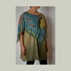 Women's summer dress  summer poncho tunic cotton silk