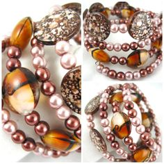 Brown Black Spotted Shell Earthtone Copper by JazzitUpwithDesigns, $35.00
