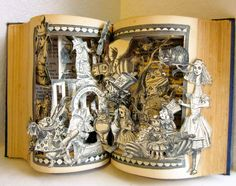 Altered book Alice in Wonderland antique repurposed Pop up book style Copyright 1923 This altered antique book comes alive with all the Lewis Carroll, Alice In Wonderland Book, Altered Book Art, Book Sculpture, Up Book, Through The Looking Glass, Antique Books, Keepsake Boxes, Miniature Dolls