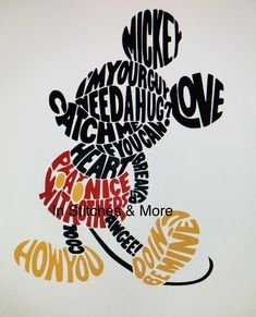 Mickey Mouse House, Mickey Mouse Crafts, Disney Crafts, Mickey Minnie Mouse, Disney Pop Art, Disney Fun, Disney Magic, Typography Portrait, Typography Art