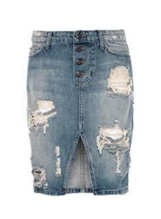 Loving this Joe's Jeans button up distressed denim pencil skirt which is vintage inspired $158, get it here: http://rstyle.me/~25hQY