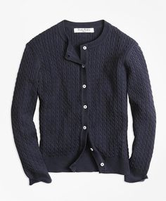 4df11bd0c Brooks Brothers Long-Sleeve Mini Cable Cardigan - ShopStyle Sweaters