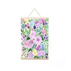 Purple and Green Floral Poster Hanger
