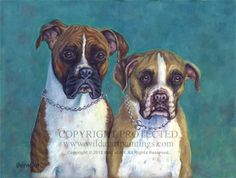 """""""Brandy and Dixie"""" - Brindle and Fawn Boxer dogs pet portrait oil painting on 12"""" x 16"""" canvas by Catherine Garneau. Commissioned by Gail Sullivan Bocian."""