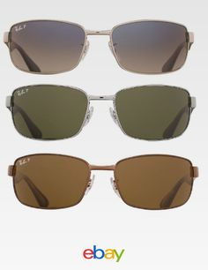 1d44eda96b265 Ray Ban RB3478 Polarized Original Gunmetal Rectangle Sunglasses Choice of  Color