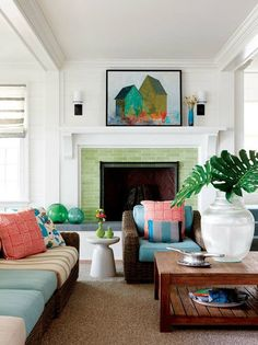 Fresh living room with crisp green tile fireplace surround that ties the room together. Living Room With Fireplace, My Living Room, Home And Living, Living Spaces, Coastal Living, Small Living, Fireplace Tile Surround, Fireplace Surrounds, Fireplace Design