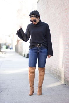 RD's Obsessions: Bell Sleeved Sweater, bell sleeves, over the knee boots, affordable over the knee boots