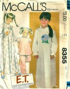 E.T. pajamas pattern. Grandma made me these in 1984
