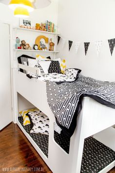 Campbells black and white room www.alphabetmonkey.com.au Girl Nursery, Girls Bedroom, Bunk Bed Rooms, Baby Boy Bedding, Kid Spaces, Deco, Kids Room, Wild Child, Black And White