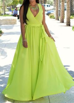 Light Green V Neck Sleeveless Maxi Dress with cheap wholesale price, buy Light Green V Neck Sleeveless Maxi Dress at Rotita.com !