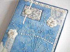 A5 Notebook, Sketchbook, Journal, Diary, Hobonichi Cover, Blue emboidered Linen & Floral Fabric Collage, Vintage Lace, OOAK, UK Seller