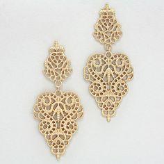 Crochet Rose Earrings in Gold