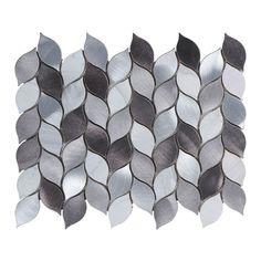 Modern Gray Metallic Blended Natural Stone Leaves Pattern Mosaic Backsplash Tile #Modket Mosaic Backsplash, Mosaic Tiles, Modern House Design, Natural Stones, Metallic, Leaves, Gray, Detail, Kitchen