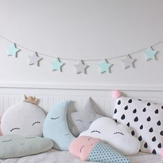 Hand cut and hand painted 9mm plywood star garland - Mint and Gray.  Perfect for…
