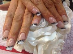 Acrylic nails with French polish ,black and silver free hand nail art