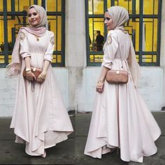 Hijab Fashion 2016/2017: evening pastel maxi dress- Chic hijab outfits from instagram www.justtrendygir