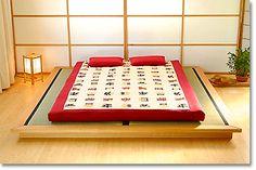 tatami platform bed with backlit shoji screen for a headboard