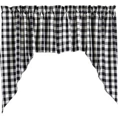 """Buffalo Black Check Lined Swag Curtains  Add charm to your window decor with our Buffalo Black Check swag curtains. Our primitive country swag curtains are 36x36"""". You will get a set of two for a tota"""
