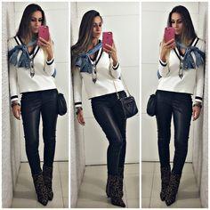 inspiração de look para o inverno com calça de couro e tricot de listras