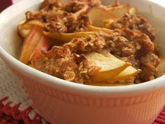 This apple crisp recipe from Food.com has less fat and calories without sacrificing flavor.
