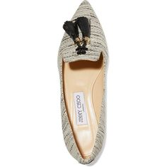 Jimmy Choo Gabby tasseled tweed point-toe flats ($473) ❤ liked on Polyvore featuring shoes, flats, tweed flats, pointy toe flats, tassel shoes, tassel flats and jimmy choo flats