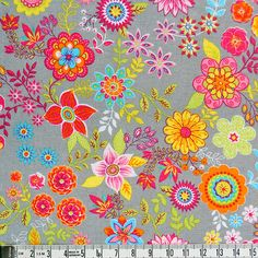 Hey, I found this really awesome Etsy listing at https://www.etsy.com/listing/217440718/flowers-on-grey-cotton-fabricfloralwide