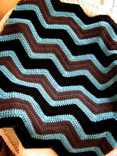 chevron zig zag baby blanket crochet afghan wrap lap robe wheelchair ripple stripes VANNA WHITE choice yarn brown aqua blue made in the USA. $75,00, via Etsy.