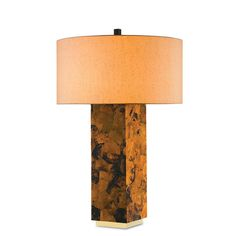 Marchmain Tiger Penshell Crackle and Contemporary Gold Leaf Brass Two-Light Table Lamp