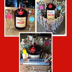Red neck gift basket. Homemade Mason jar wine glasses with a jug of wine along with fine cheese in a can and crackers.